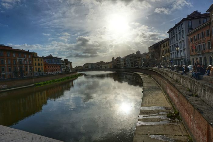 Reflection Water Cloud - Sky Architecture Building Exterior Built Structure Sky City River Outdoors Travel Destinations Cityscape No People Day Pisa Pisa, Italy Pisa En Verde City Flowers, Nature And Beauty Fragility Scenics Plant