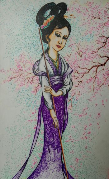 Drawing Art, Drawing, Creativity Acient China Beauty People And Art Bury Popular DaiYu bury the flowers.