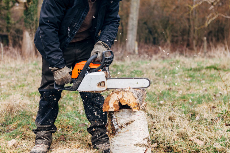 Lumberjack sawing wood on field