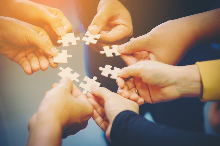 Body Part Complexity Cooperation Finger Group Of People Hand Holding Human Body Part Human Finger Human Hand Indoors  Jigsaw Piece Jigsaw Puzzle Leisure Activity Lifestyles People Puzzle  Real People Teamwork Togetherness Unrecognizable Person