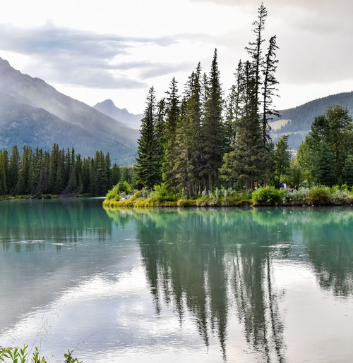 Lake in the town of Banff, Alberta Alberta Beauty In Nature Cloud - Sky Day Fresh Journey Joy Lake Mountain Mountain Range Nature No People Outdoors Peaceful Reflection Scenics Sky Town Of Banff Tranquil Scene Tranquility Tree Water