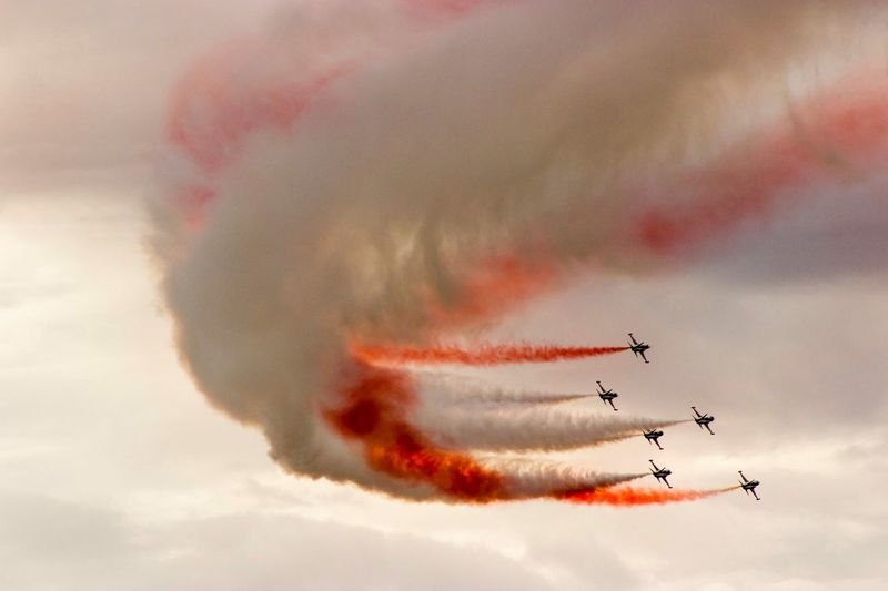 Turkish Stars Airplane Air Vehicle Cloud - Sky Airshow Flying Teamwork Mode Of Transportation Sky Plane Fighter Plane