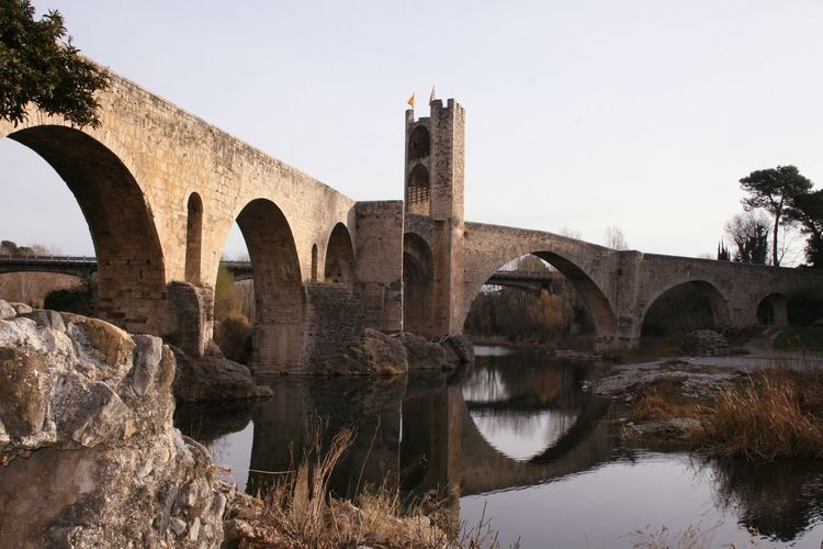 Arches Architecture Besalú-Girona Bridge - Man Made Structure Reflections In The Water River SPAIN Tower