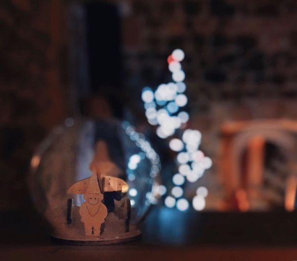 Lit ShotOnIphone Close-up Indoors  Still Life Focus On Foreground No People Table Decoration Celebration Art And Craft Selective Focus Christmas Creativity Human Representation Brown Sweet Food Night Illuminated Figurine  Food And Drink Shape