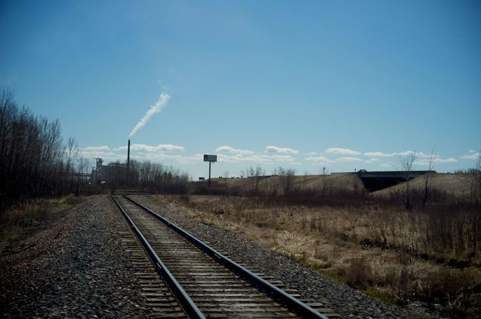 May 2, 2016 Blue Cloud Day Diminishing Perspective Landscape Long Nature No People Outdoors Power Line  Public Transportation Rail Transportation Railroad Track Railway Track Rural Scene Sky Straight Superior Surface Level The Way Forward Tranquil Scene Tranquility Vanishing Point Wisconsin