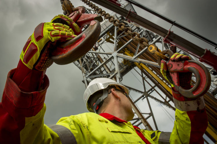 Low angle view of man working