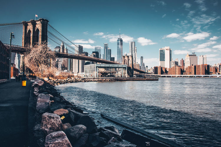 Brooklyn Bridge / New York Golden Bridge Newyorkcity Oneworldtradecenter Pointofinterest River Sky Stone Water