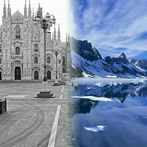 Milano Piazza Duomo Montagnes Cime Innevate Ghiaccio Mesi Invernali Freddo Polare!😆 Taking Photos #Italy #rho