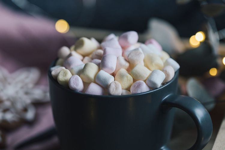 Close-Up Of Marshmallows In Mug On Table