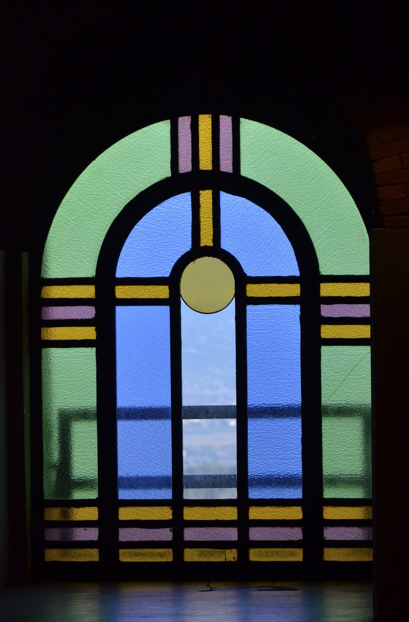 window, indoors, multi colored, arch, no people, built structure, architecture, day, close-up