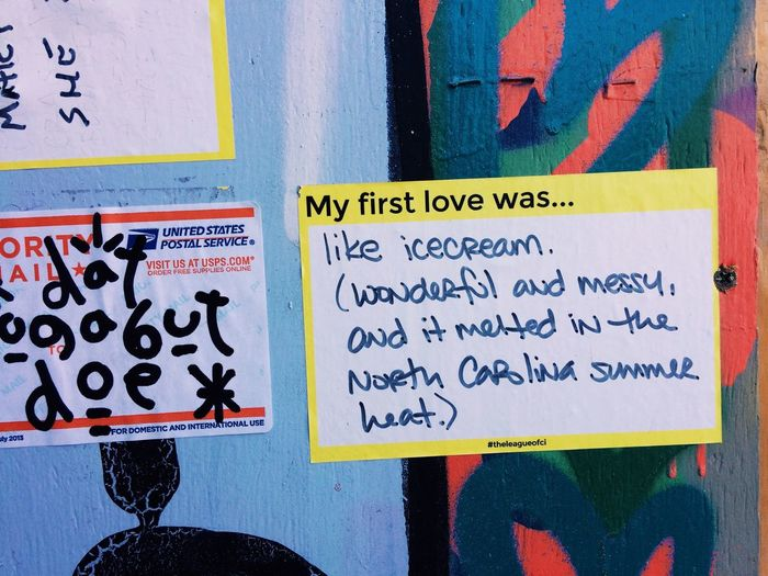 My first love was... like ice cream (wonderful and messy, and it melted in the North Carolina summer heat). // Sticker Love