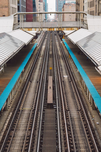 High angle view of railroad station platform