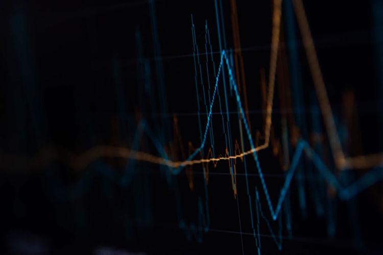 Close-up of illuminated graph