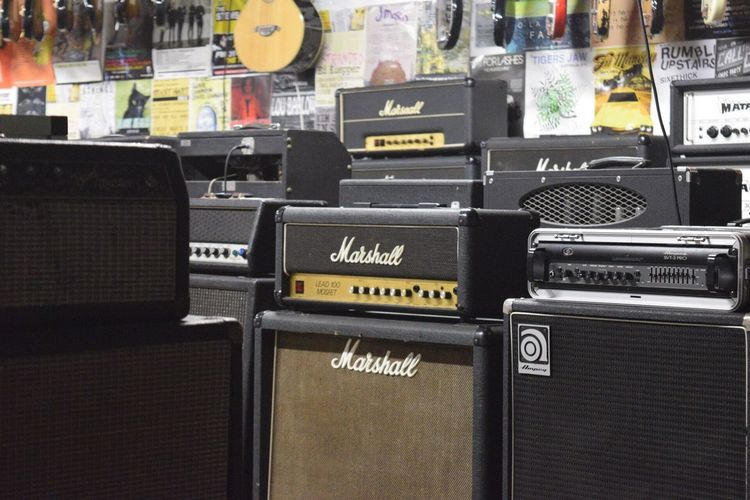 Marshall Amps Electric Guitars Guitar #Chilling #Music Indoors  Text No People Communication Arrangement Day Close-up Photography Music Band Guitar Shop