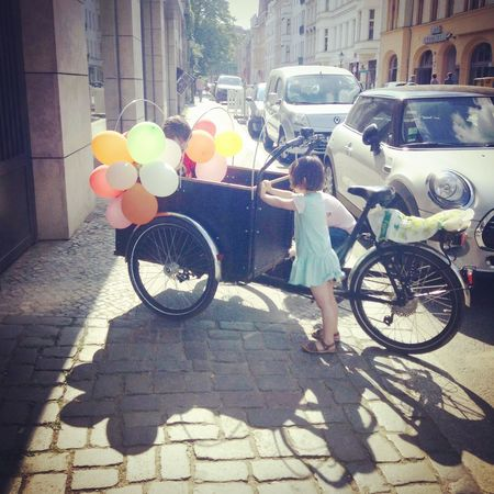 Happiness Kids Balloon Bicycle Childhood City Little Journey Street Sunlight