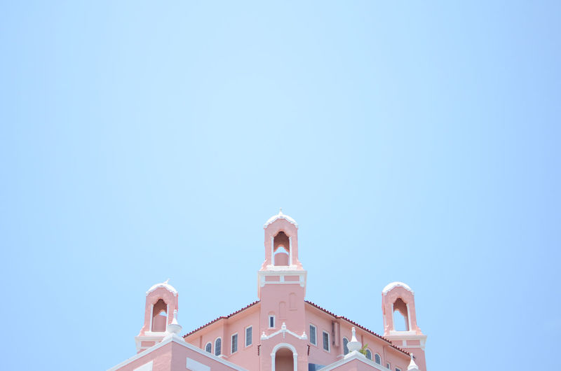 Tippy top of the Don Cesar Architecture Blue Blue Sky Built Structure Clear Sky Don Cesar  Florida High Section Hotel Low Angle View No People Outdoors Pink Building Pink Buildings Sky Vacation