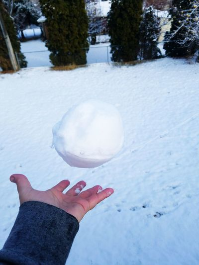 Winter Snow Human Hand One Person Frozen Ice People Cold Temperature Outdoors Woman Women Snowballs Snowball Fight Hands Fun Games