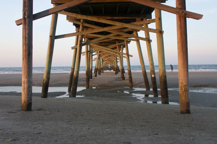 Sea Water Beach Horizon Over Water Pier Nature Built Structure Outdoors Tranquil Scene Wood - Material Sand Beauty In Nature No People