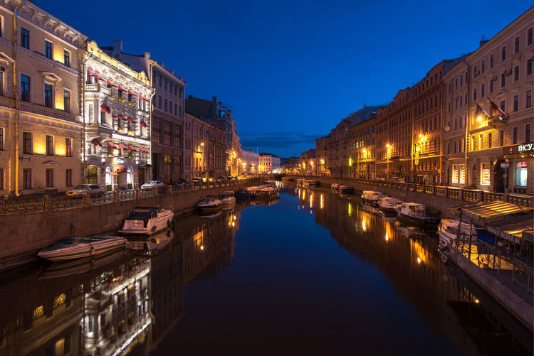 Embankment of the Moyka River in Saint Petersburg, Russia Architecture Blue Built Structure Illuminated Moyka No People Outdoors Peterburg Reflection Relaxing River Tourism Travel Destinations Water Waterfront
