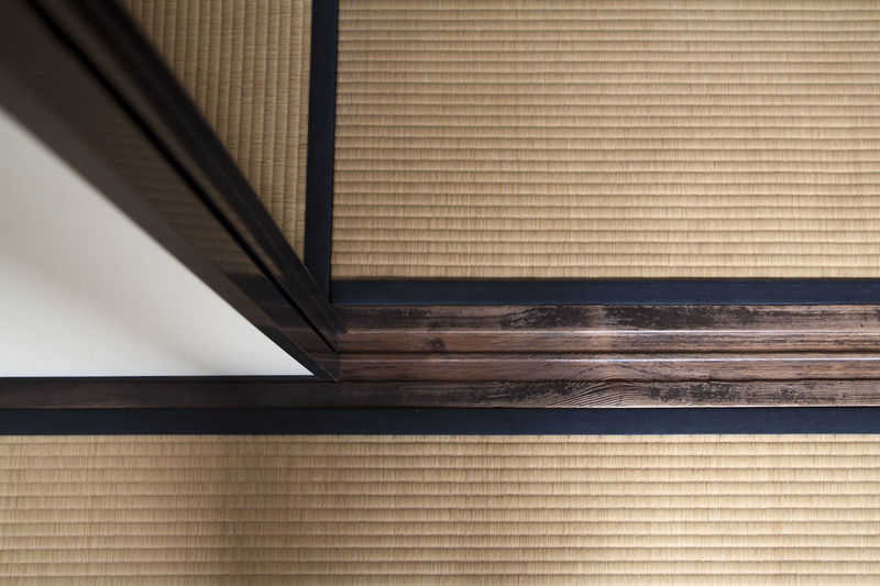 Close-up of japanese tatami mat floor and sliding screen