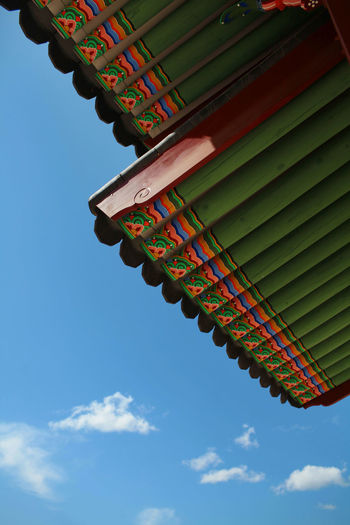 Low angle view of ornate wooden roof of gwanghwamun gate