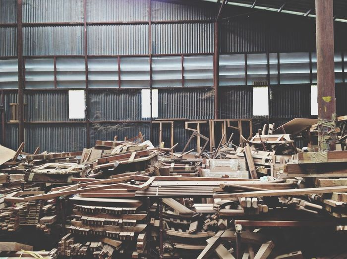 Stack Of Wooden Planks In Warehouse