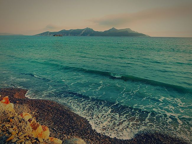 Turquoise .- Turquoise Methoni Beauty In Nature Horizon Over Water Tranquil Scene Travel Destinations Landscape