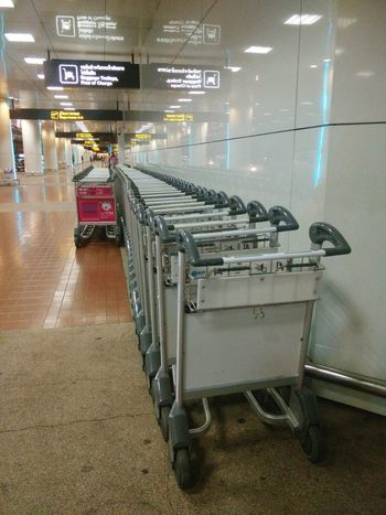Transportation In A Row Airport Baggage Trolleys Trolleys Thailand Photos