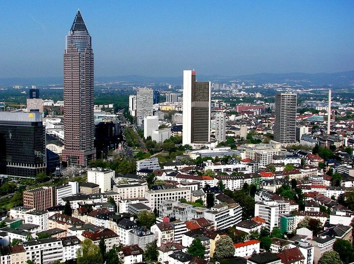 Architecture Cityscape Financial District  Frankfurt Am Main High Angle View Office Building Skyline Urban Scene