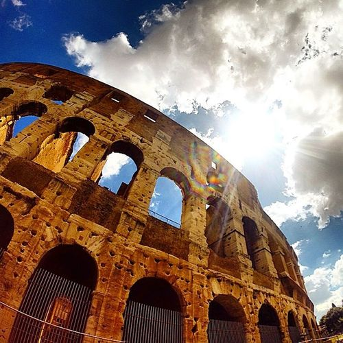 Colosseum Rome Gopro Coloseum Rome Italy Italy Traveling Site Seeing Sunburst Bluesky Landmark Landscape_Collection International Landmark Romestreets Gladiator Arena Areyousatisfied Goprooftheday Gopro Holiday Holidaysnap Summertime Taking Photos Photography