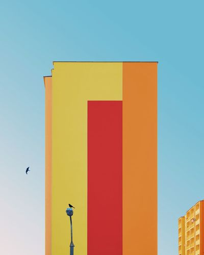 ◂「◂」︱relax, take it easy Minimalist Architecture Minimal Exterior Bird Birds EyeEm Best Shots EyeEmNewHere First Eyeem Photo EyeEm Selects Samsungphotography Building Exterior Architecture_collection Architectural Column VSCO Minimalism Color Colors Colorful Blocks Façade The Week on EyeEm Clear Sky City Sky Architecture Residential Structure Tall - High Settlement Building Urban Skyline