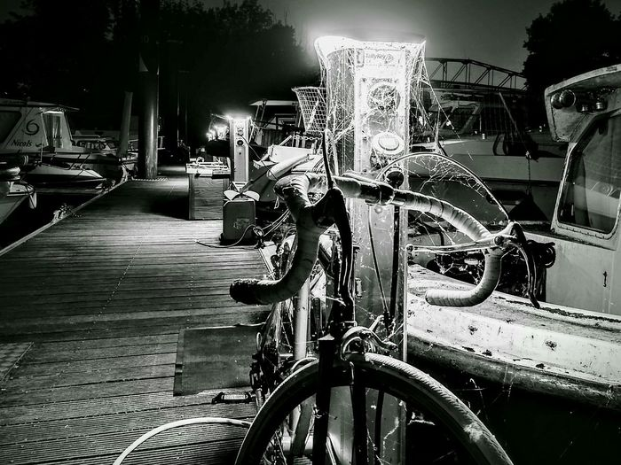 Bicycle Night No People Water Marine Boats⛵️ France 🇫🇷 Ponton Portauxcerises Draveil 91120 Web Spider Toile D'araignee Bateau ❤️