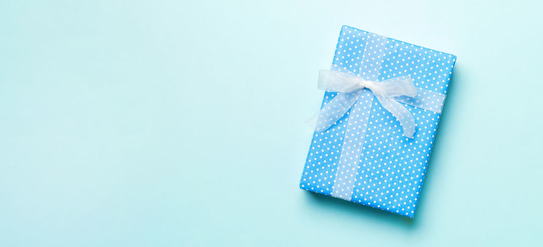 Close-up of blue box against white background