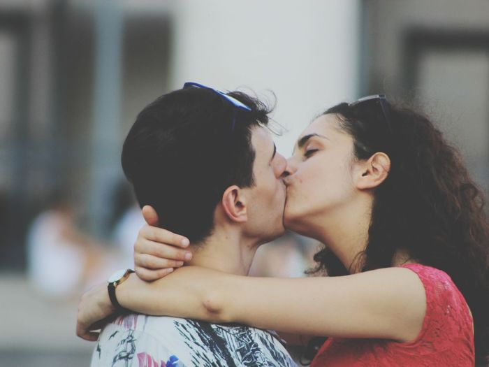Close-Up Of Couple Kissing On Mouth