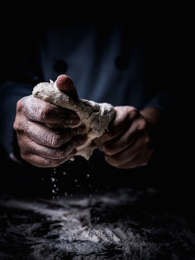 Chef Close-up Dirt Dirty Dough Flour Focus On Foreground Food Food And Drink Freshness Hand Holding Human Body Part Human Hand Indoors  Kneading Men Messy Midsection Occupation One Person Preparation  Preparing Food