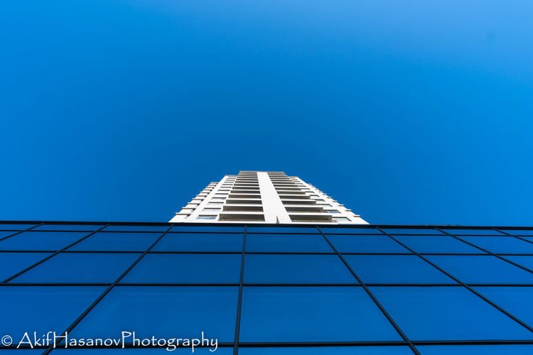 Architecture Blue Building Exterior Built Structure Low Angle View Modern No People Sky Skyscraper Tall Tower Baku Azerbaijan