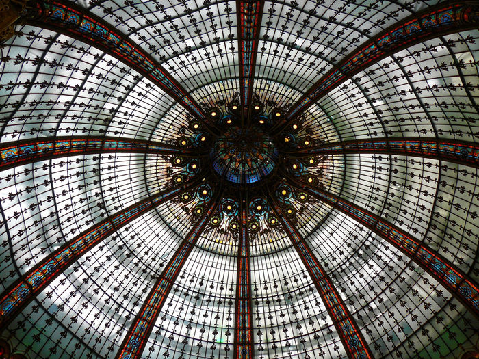 Paris Paris, France  Shopping Mall La Fayette La Fayette Gallery Holiday Glass Colors Roof