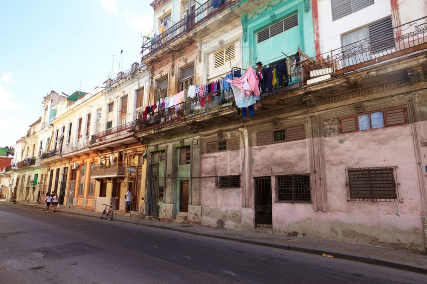 Architecture Architecture Building Exterior Built Structure City Cuba Cuba Collection Cuban Life Day Havana Laundry Day No People Outdoors Residential Building Road Sky Street Window
