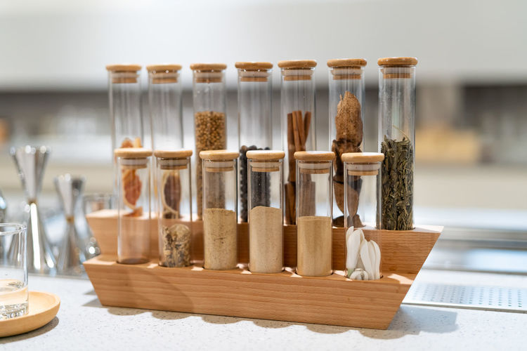 Close-up of spices in tube on table