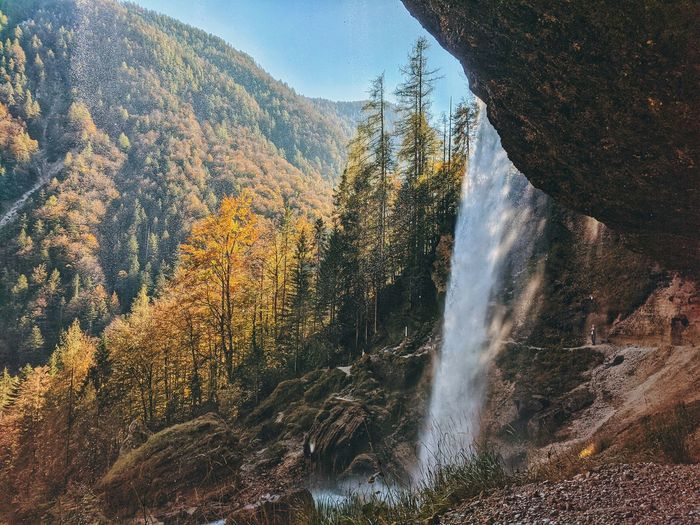 Wonderful autumn view on the waterfall perichnik in slovenia.