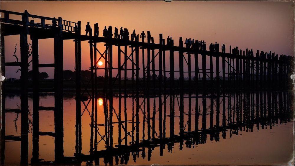 U-bein bridge, Mandalay, Myanmar Sunset Travel