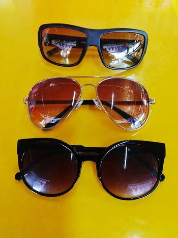 EyeEm Selects Sunglasses Eyeglasses  Eyewear Protection Protective Eyewear Eyesight Safety Yellow Background Reflection Yellow Colored Background Fashion Arts Culture And Entertainment Cool Attitude Studio Shot Summer No People Close-up Day Reading Glasses