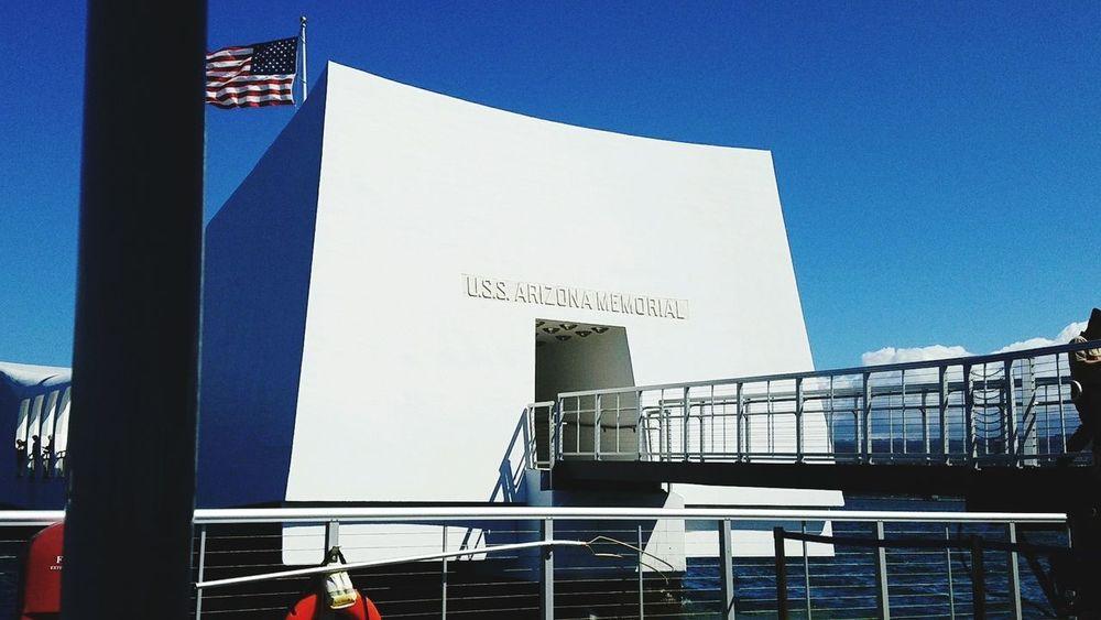 Uss Arizona Memorial Pearl Harbor Memorial Hawaii No People Flag Sky Architecture