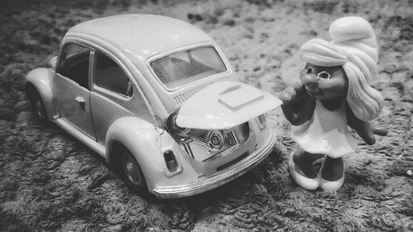 Shades Of Grey Black And White Nostalgia Retro Vintage Toys Smurfette  VW Beetle Classic Car Beetle