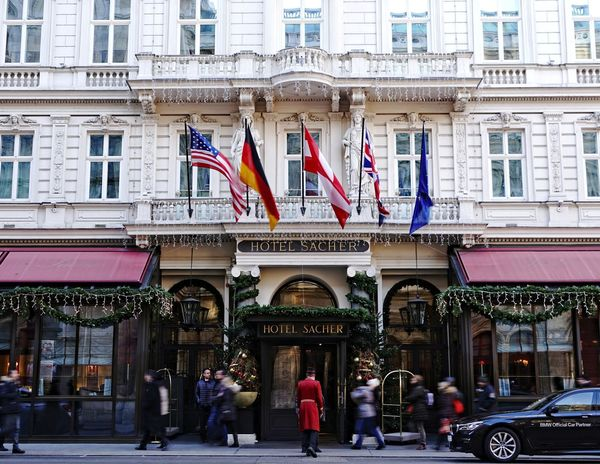 Wien Hotel Sacher entrance Architecture Building Exterior City City Street Cultures Day Elegance And Class Famous Place Flag Hotel Sacher, Vienna Hotel View Large Group Of People Outdoors People Travel Destinations Urban Road