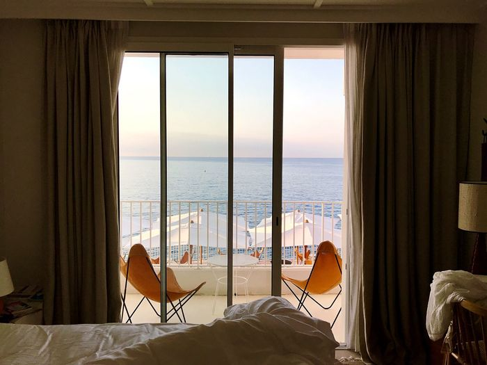 Seaside Côte D'Azur Unmade Bed Hotel Room Hotel View Horizon Window Indoors  Relaxation No People