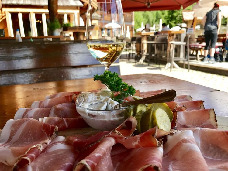 Dolomites, Italy Südtirol Appetizer Cocktail Drink Drinking Glass Focus On Foreground Food And Drink Italian Food Italy Plate Prosciutto Restaurant Rifugio Serving Size Speck Table Wineglass