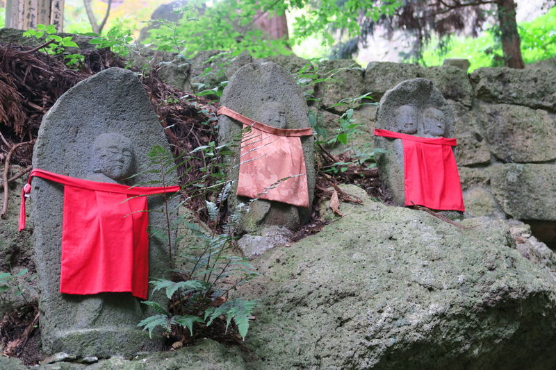 Japanese Traditional Japanese Temple Red Statue Jizou