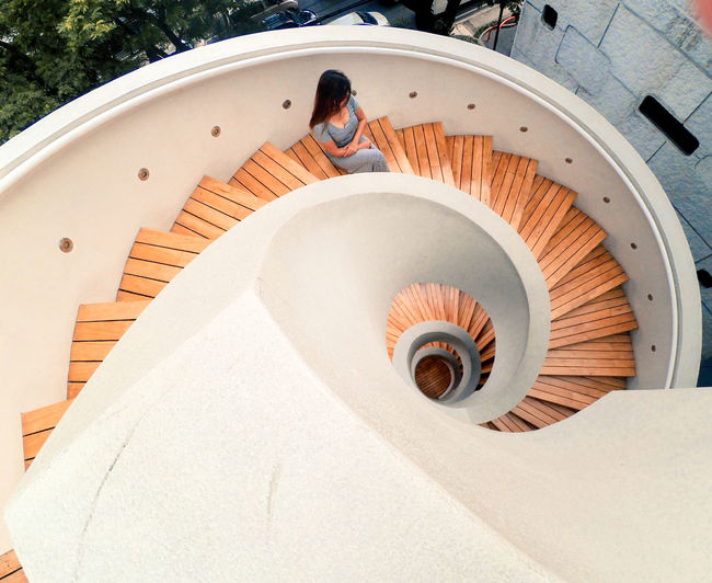 spiral staircase Architecture Architecture Stairs Spiral Spiral Staircase Sunlight High Angle View Stairs Stairway Staircase Steps Steps And Staircases Building