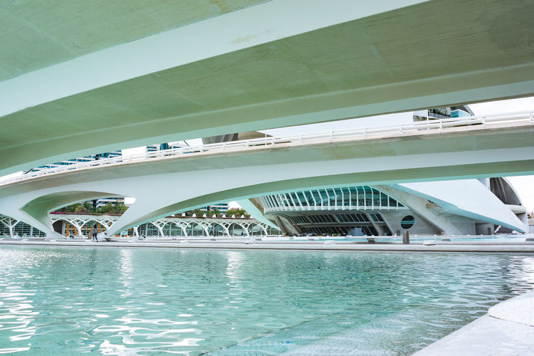 Bridge over swimming pool